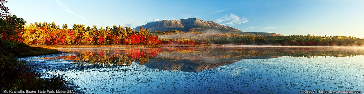 Mount Katahdin and Compass Pond in northern Maine