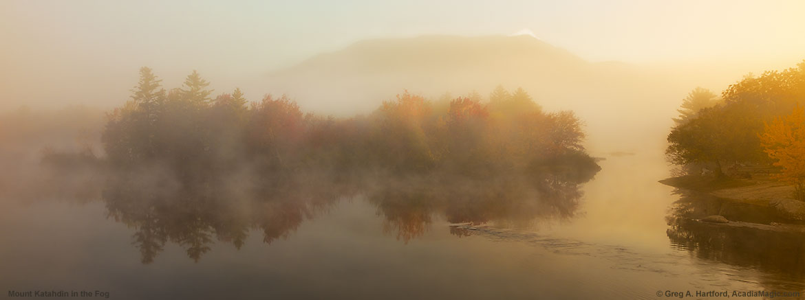 Mount Katahdin was enshrouded in a heavy fog this October morning.