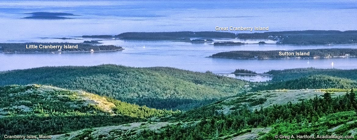 This shows three of the five Cranberry Isles in Maine.