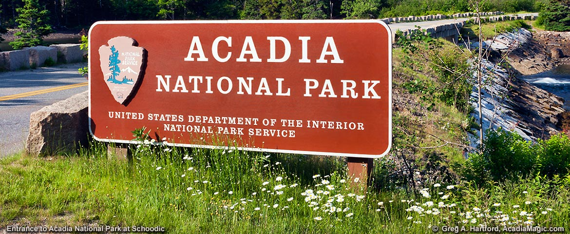 Entrance to Acadia National Park at Schoodic Peninsula