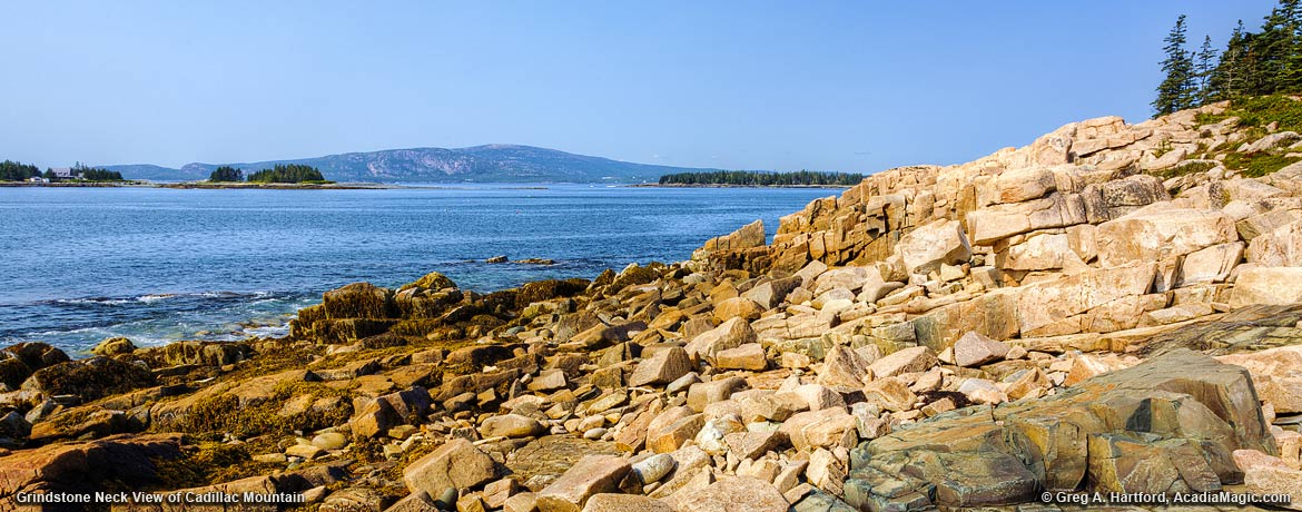 View of Cadillac Mountain from Grindstone Neck, Maine