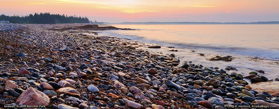 Rocks and boulders at Seawall in Acadia National Park