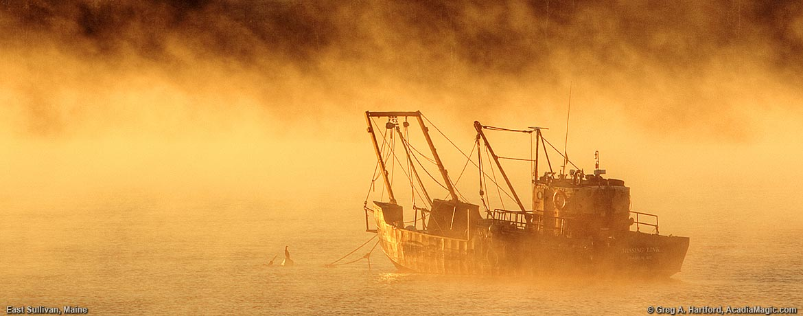 Scallop Dragger during sunrise fog in East Sullivan, Maine