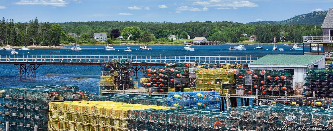 Lobster traps on Bass Harbor docks in Tremont, Maine