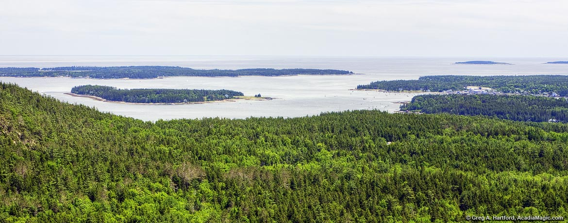 View of Greening Island and Southwest Harbor from Beech Mountain Trail