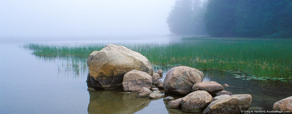 Foggy morning at Echo Lake with boulders