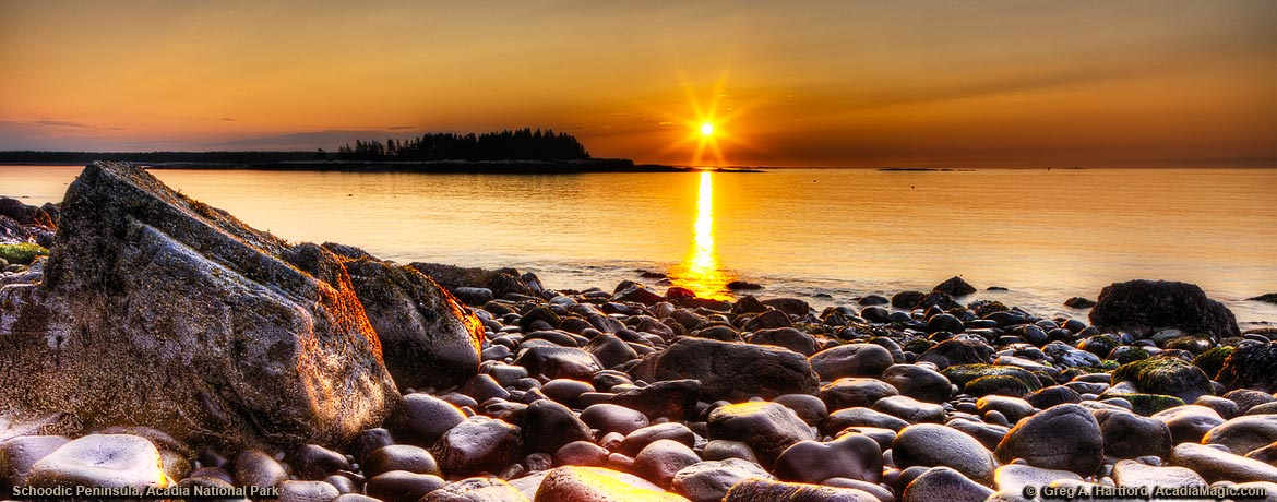Sunrise on rocky east coast of Schoodic Peninsula