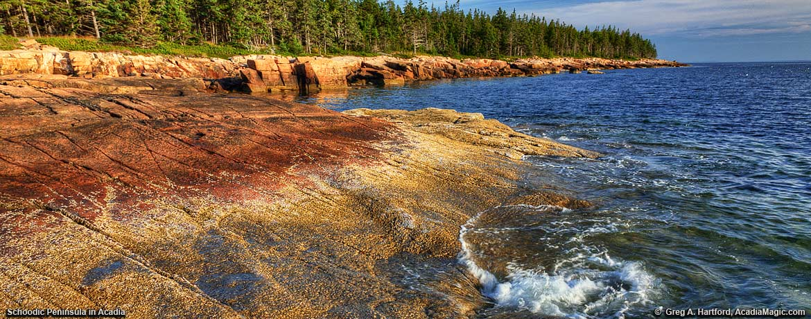Sunset on the west coast of the Schoodic Peninsula in Acadia National Park