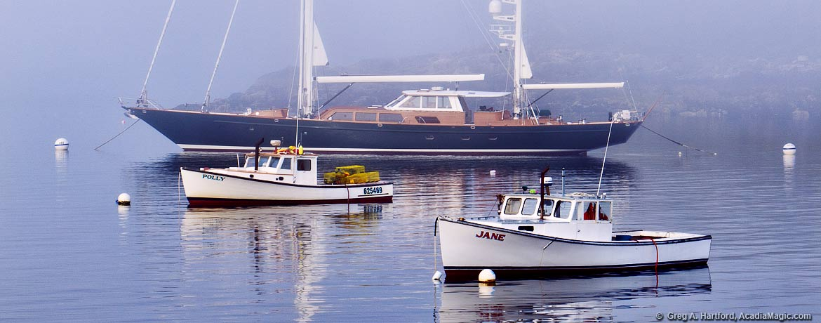 Yacht and lobster boats in Seal Harbor