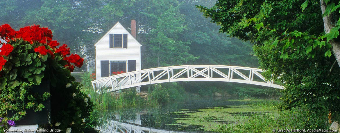 Arched footbridge in Somesville, Maine