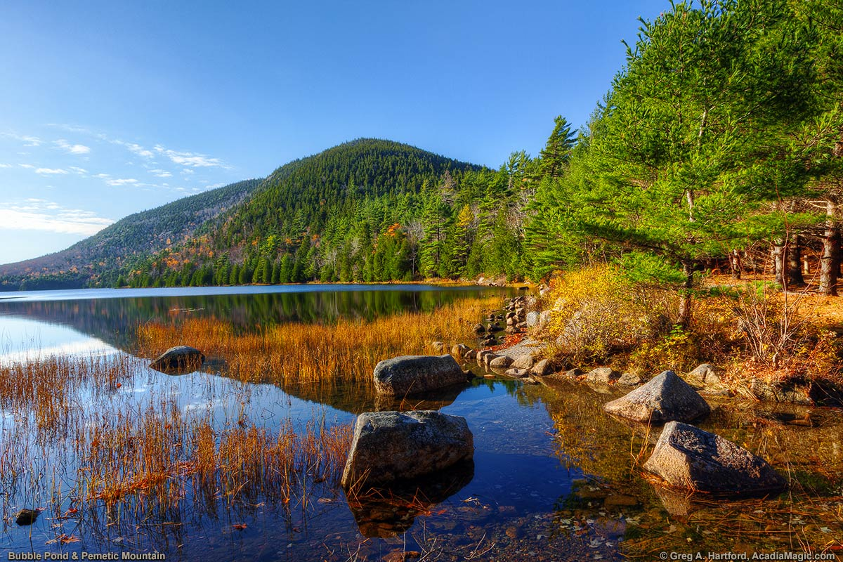 Bubble Pond and Pemetic Mountain in Acadia National Park, Maine