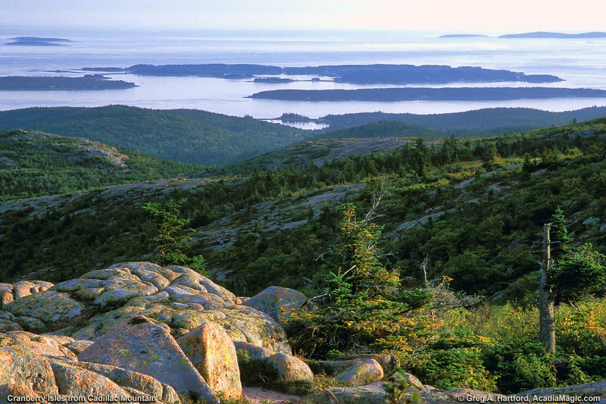 View of Cranberry Isles from Cadillac Mountain in late afternoon