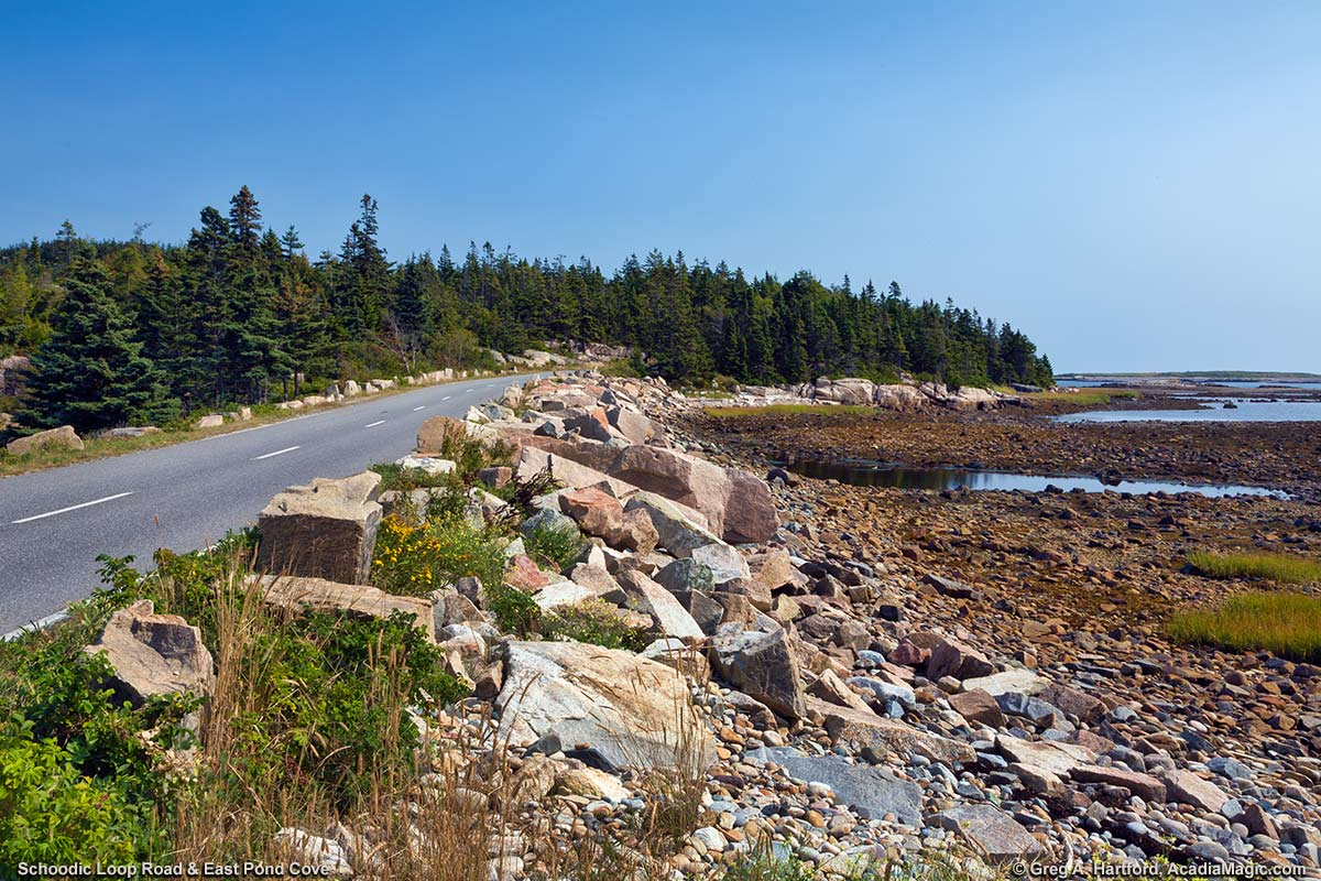East Pond Cove roadside with quarried granite and rocky shore