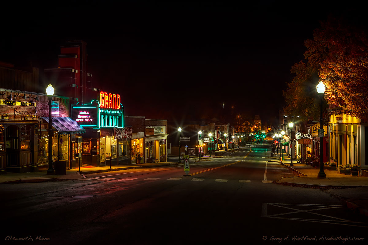 Late at night on Main Street in Ellsworth, Maine