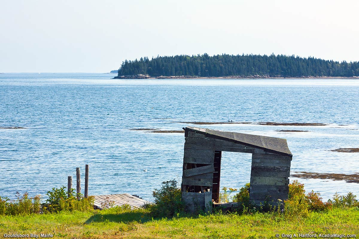 This photo of an old weathered shed and Gouldsboro Bay was taken from the village of Gouldsboro Point.