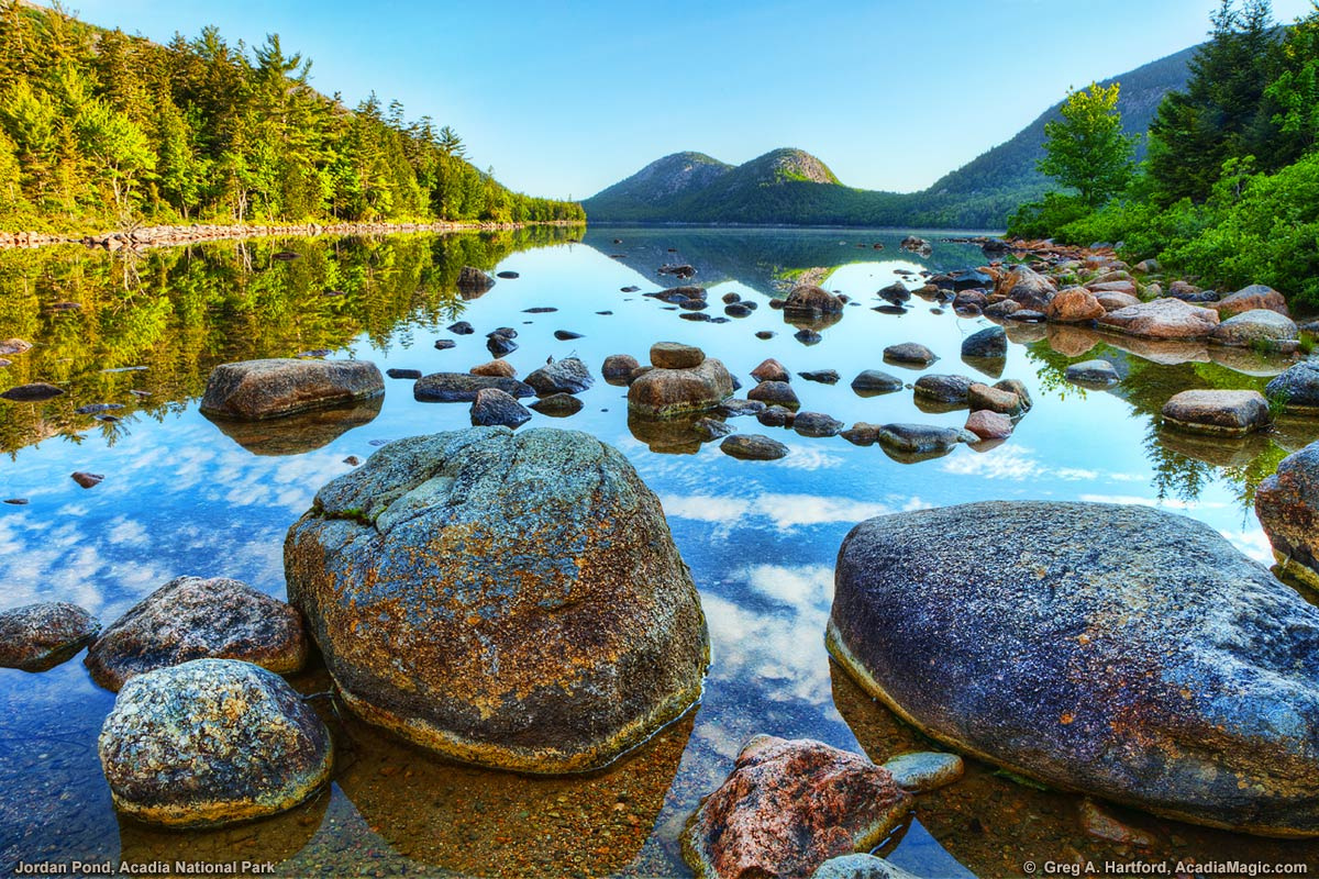 This is a close-up showing some of the large boulders at Jordan Pond.