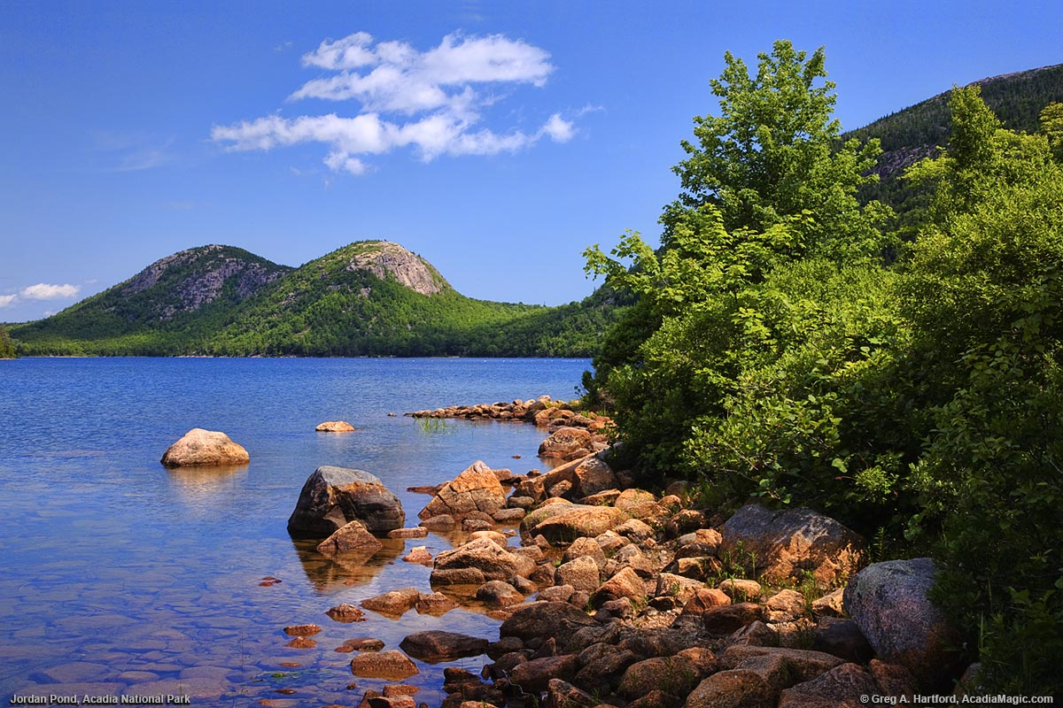 Jordan Pond and North and South Bubble Mountains in Acadia National Park, Maine