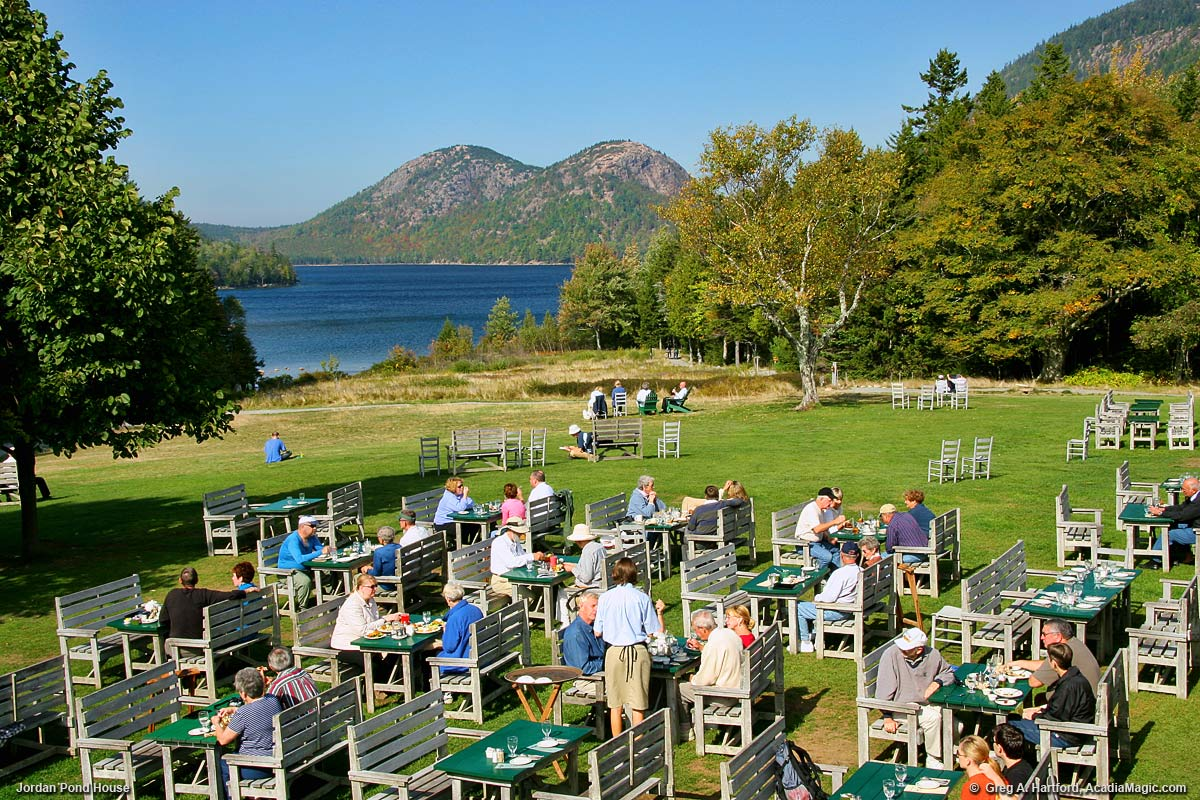 Outside Seating at the Jordan Pond House in Acadia National Park
