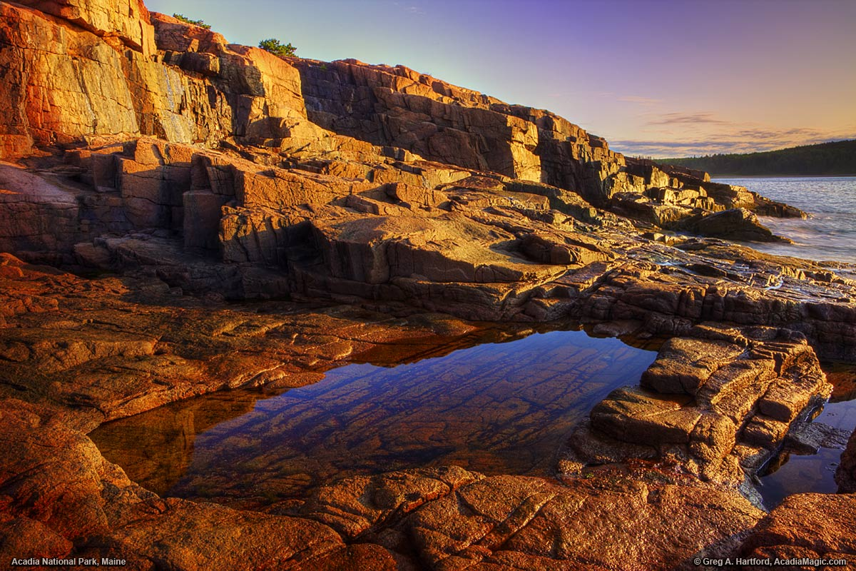 Sunrise in Acadia National Park with tidepool