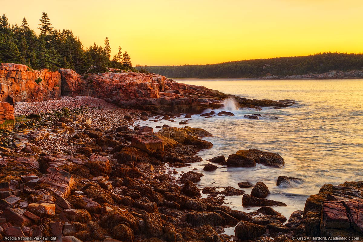 Twilight just before sunrise in Acadia National Park