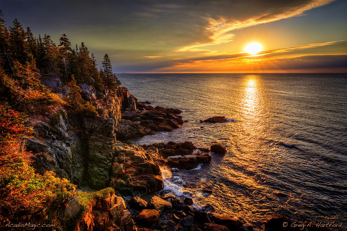 Dramatic sunrise during mid-October in Acadia National Park