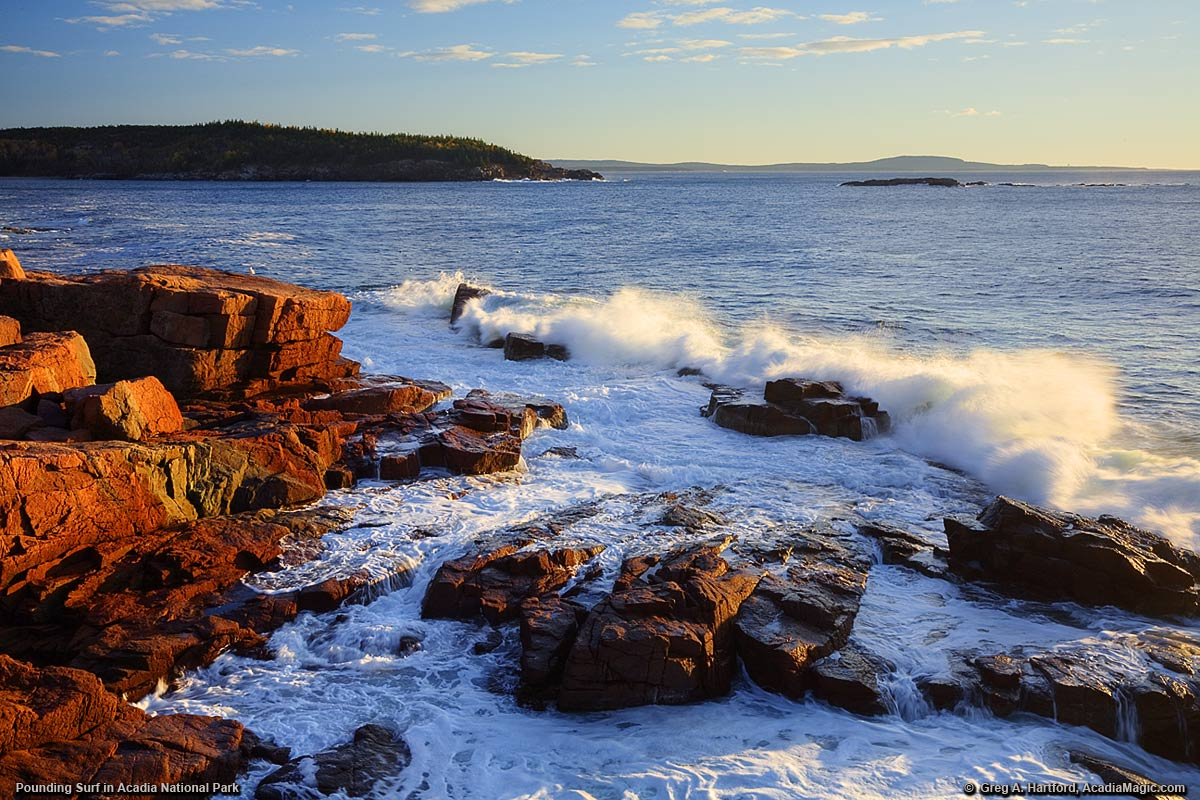 Crashing ocean waves in Acadia National Park at sunrise