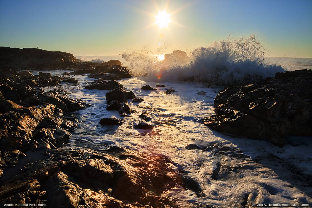 Crashing Waves at Sunrise in Acadia National Park