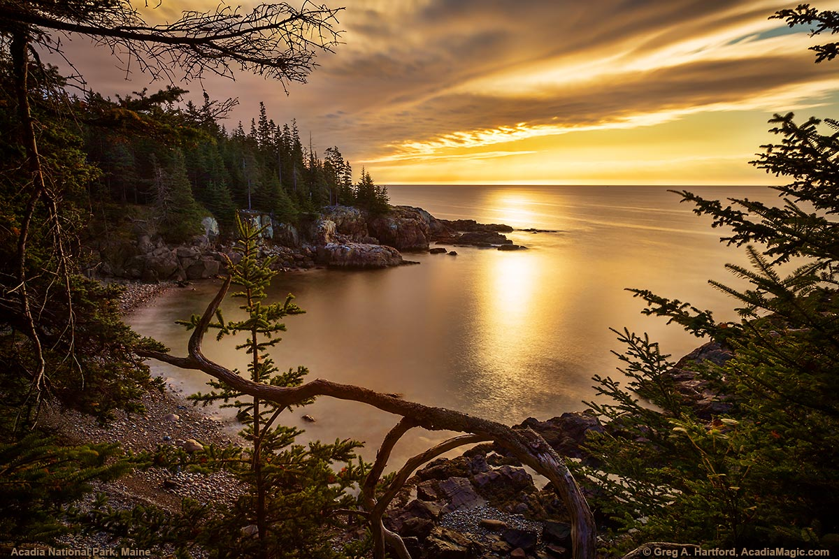 Sunrise at Little Hunters Beach in Acadia National Park