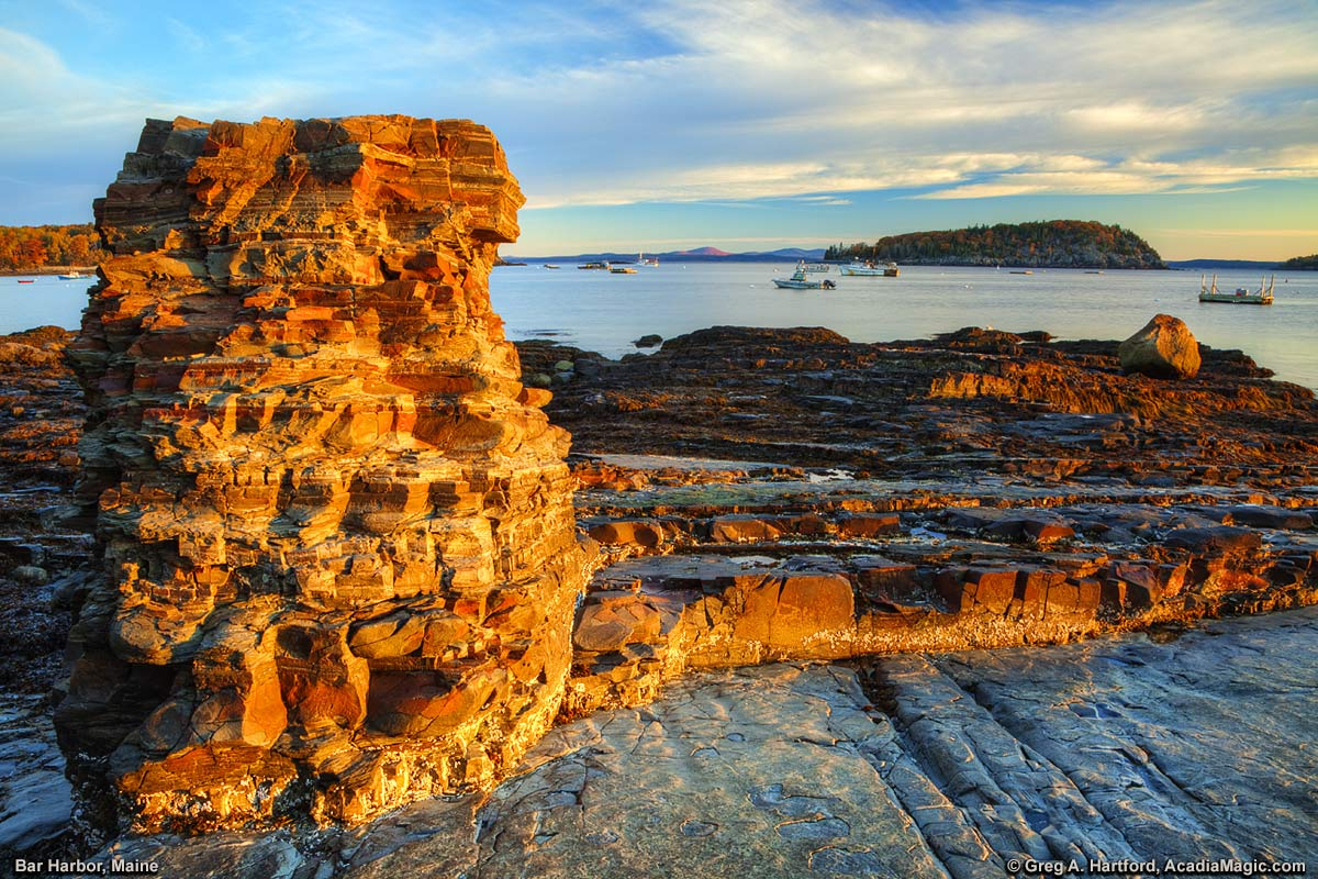 A sunrise view next to the Shore Path in Bar Harbor, Maine