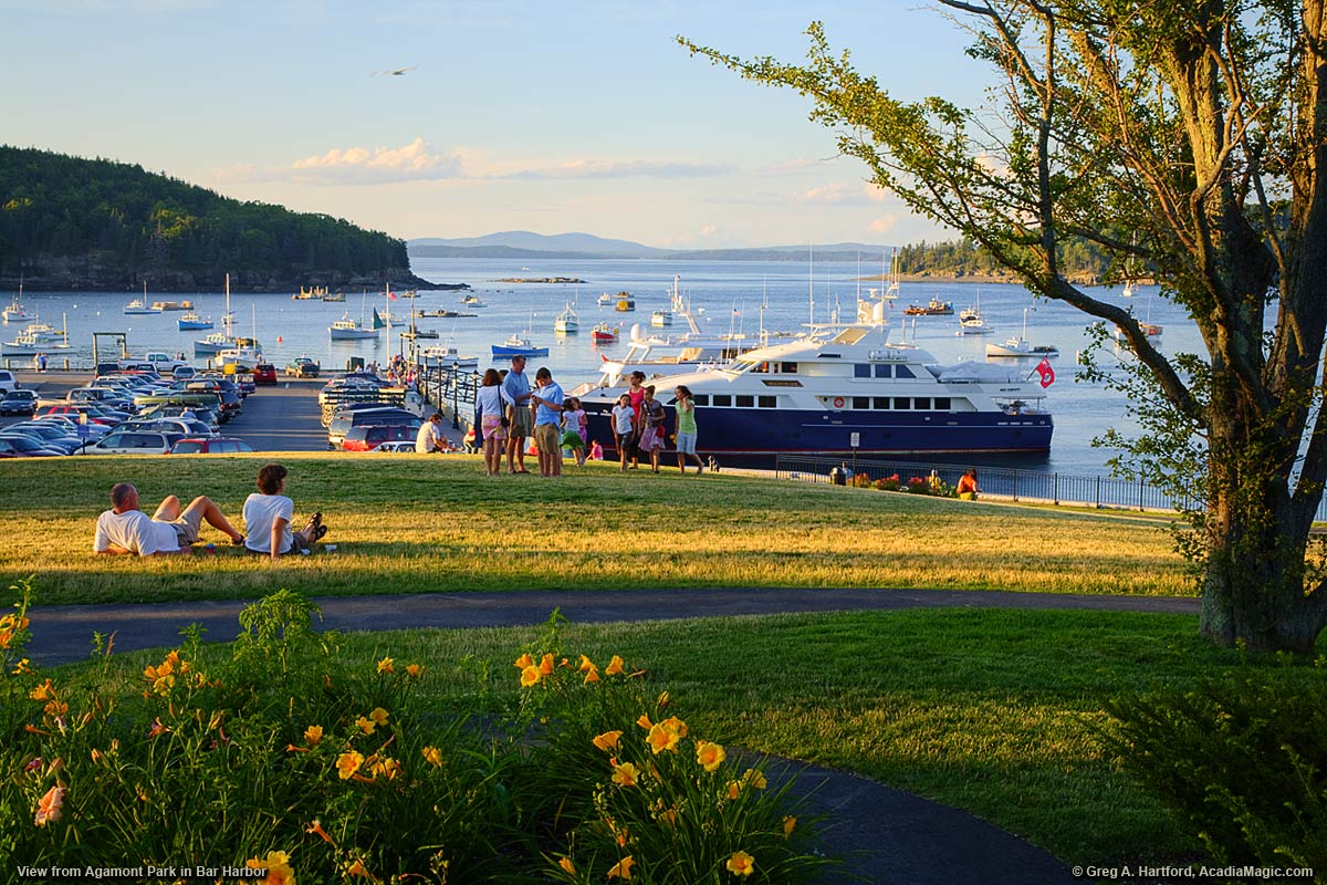 A view of the public pier and oceam from Agamont Park in Bar Harbor, Maine