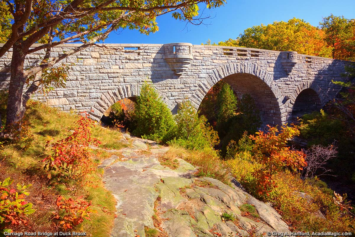 Carriage Road Bridge at Duck Brook in Acadia National Park and Bar Harbor