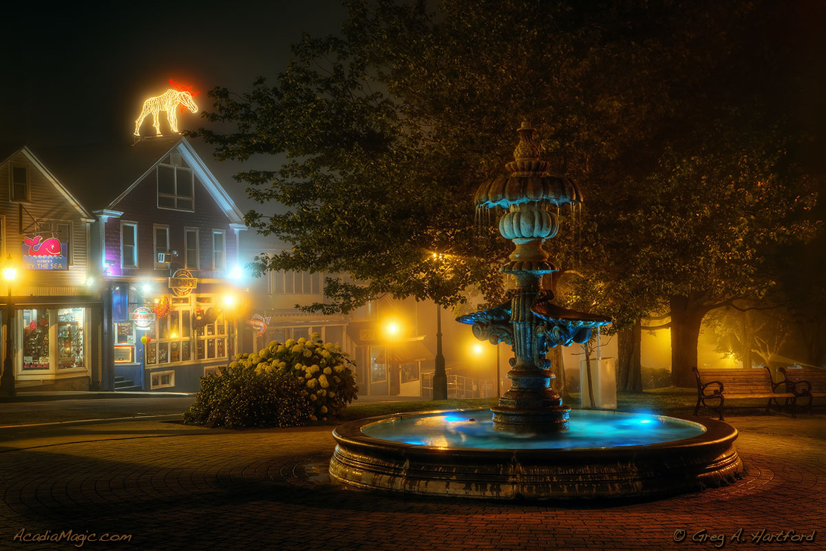 Water fountain in Bar Harbor, Maine park