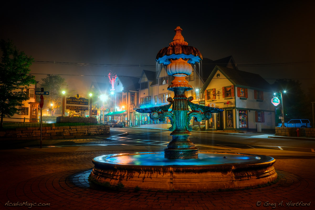 Bar Harbor, Maine water fountain during late night fog
