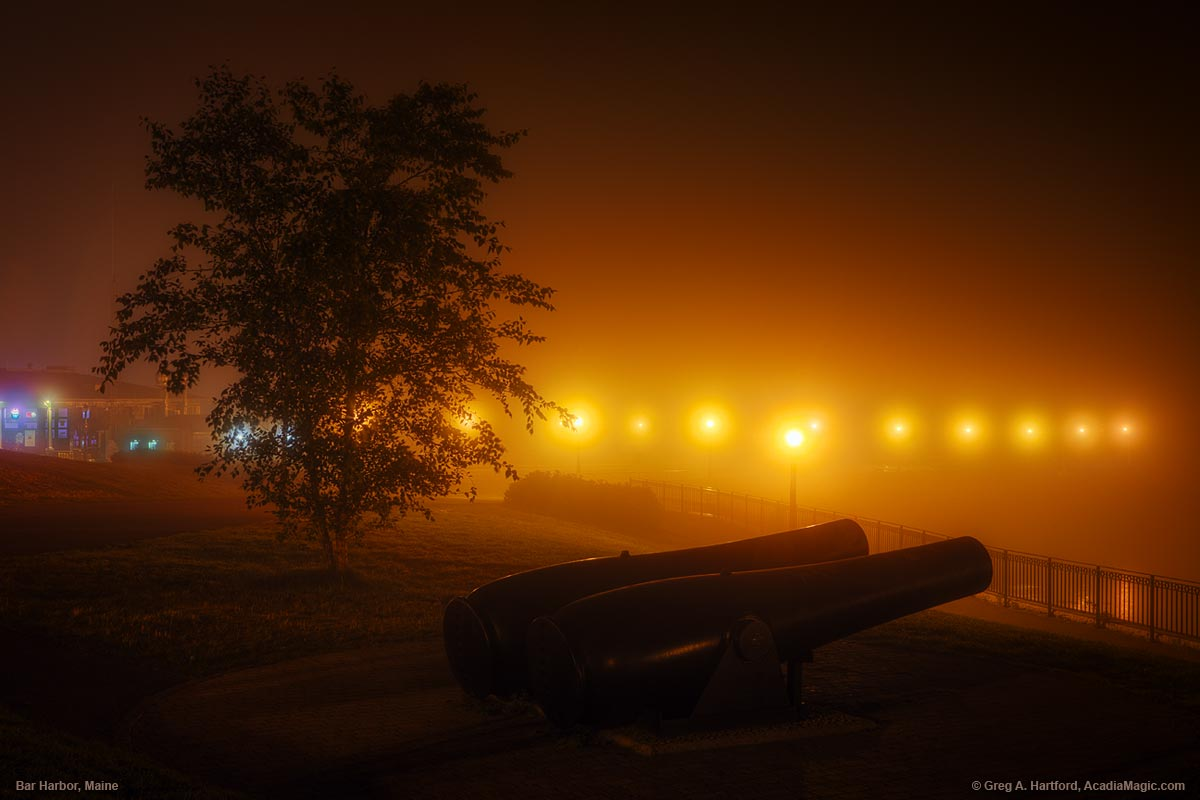Thick fog next to Shore Path and cannons in Bar Harbor