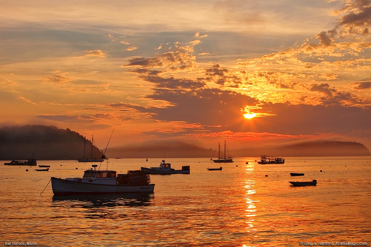 Bar Harbor Maine Lobster Boats At Sunrise