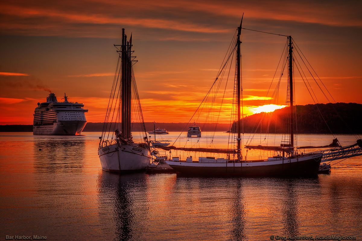 Bar Harbor Sunrise with Cruise Ship and Schooner