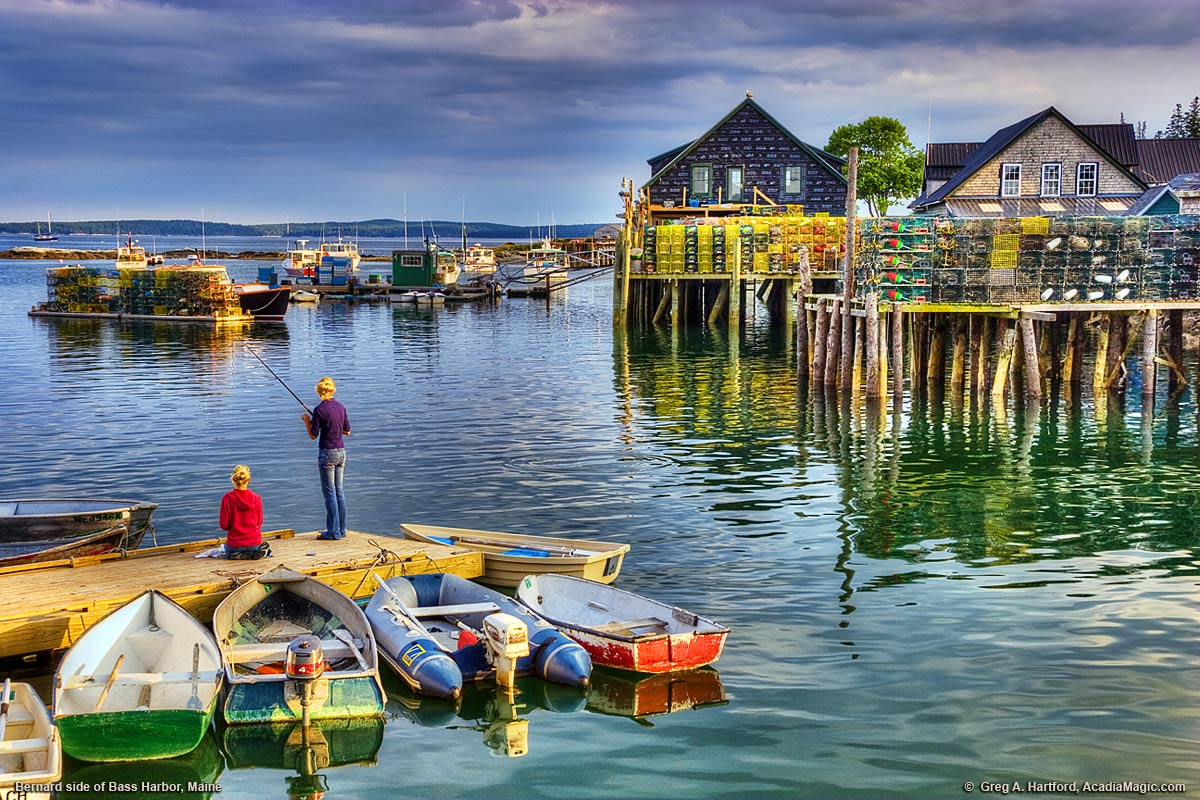 Children fishing off dock in Bernard, Maine