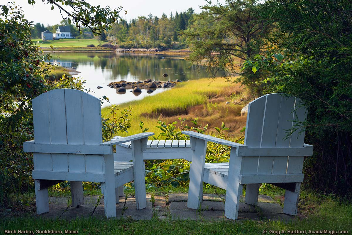This restful spot in Birch Harbor, Maine is looking south across the inlet.