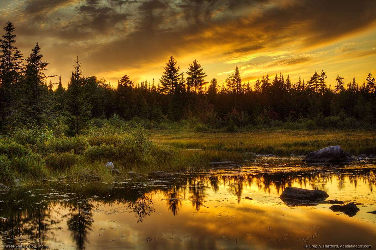 Sunset over West Shirley Bog in north-central Maine