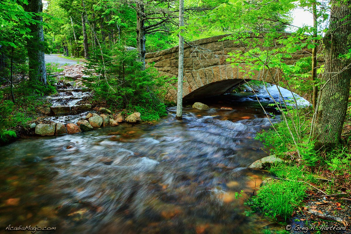 Carriage Road Bridge at Jordan Pond in Acadia National Park