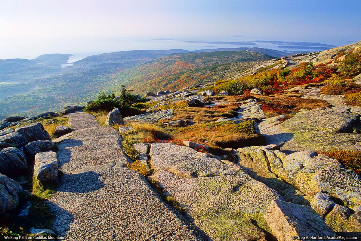 Cadillac Mountain Summit Path during Autumn Season