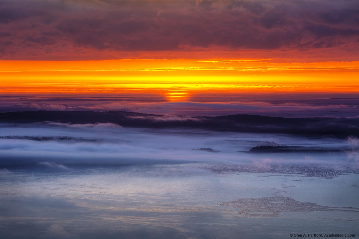 cadillac mountain sunrise with ocean fog. Cars Review. Best American Auto & Cars Review