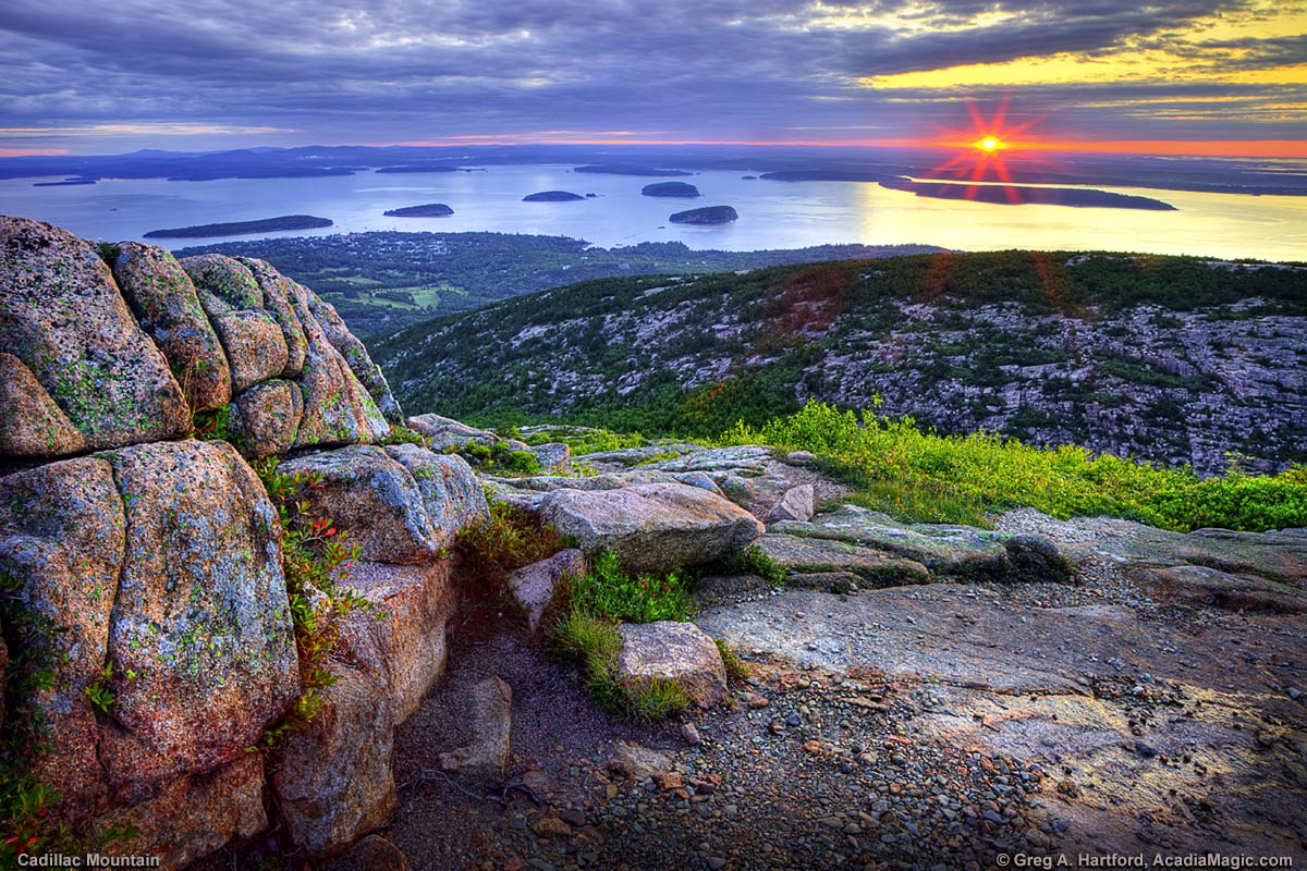 Sunrise viewed from Cadillac Mountain in Acadia National Park