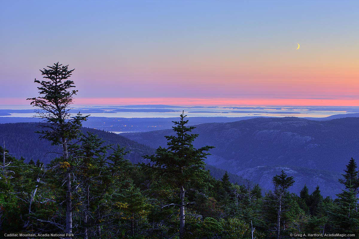 Twilight on Cadillac Mountain with moon