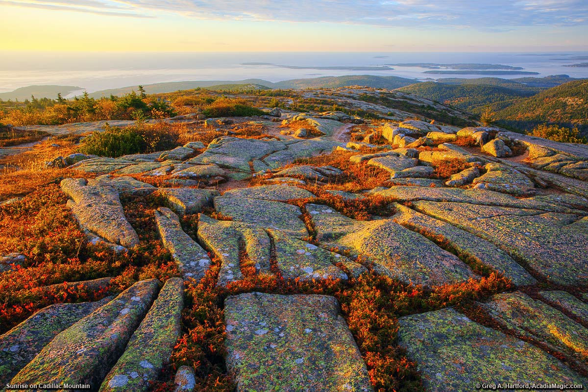 Grooves in granite on Cadillac Mountain