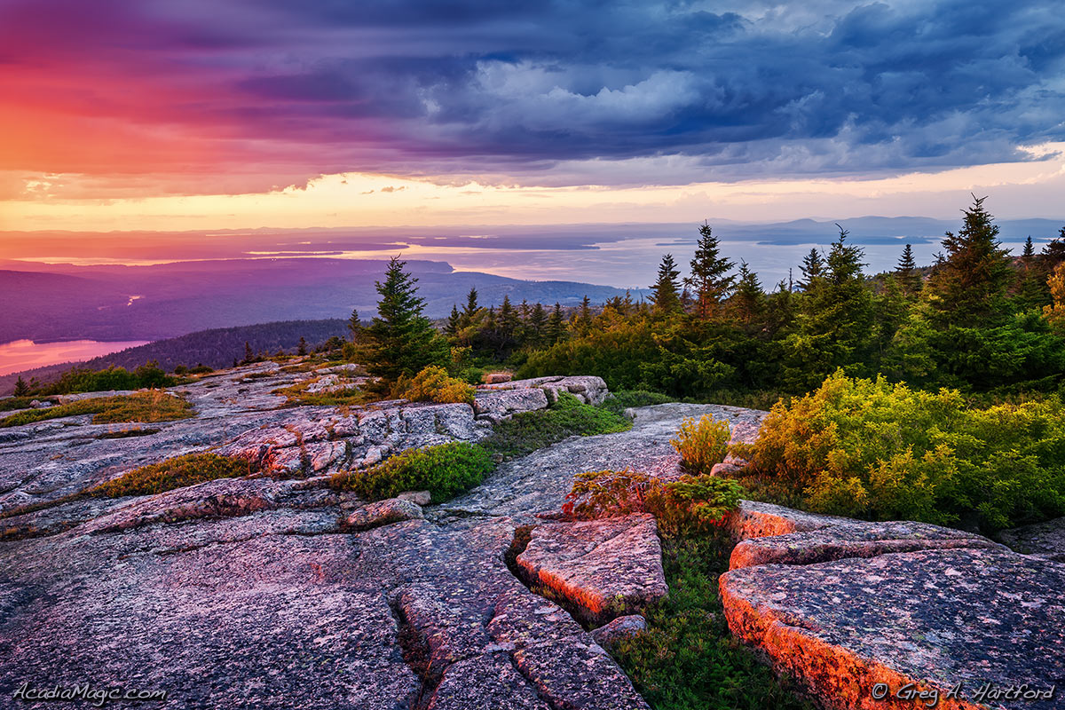 Cadillac Mountain Sunset with Cloudy Sky
