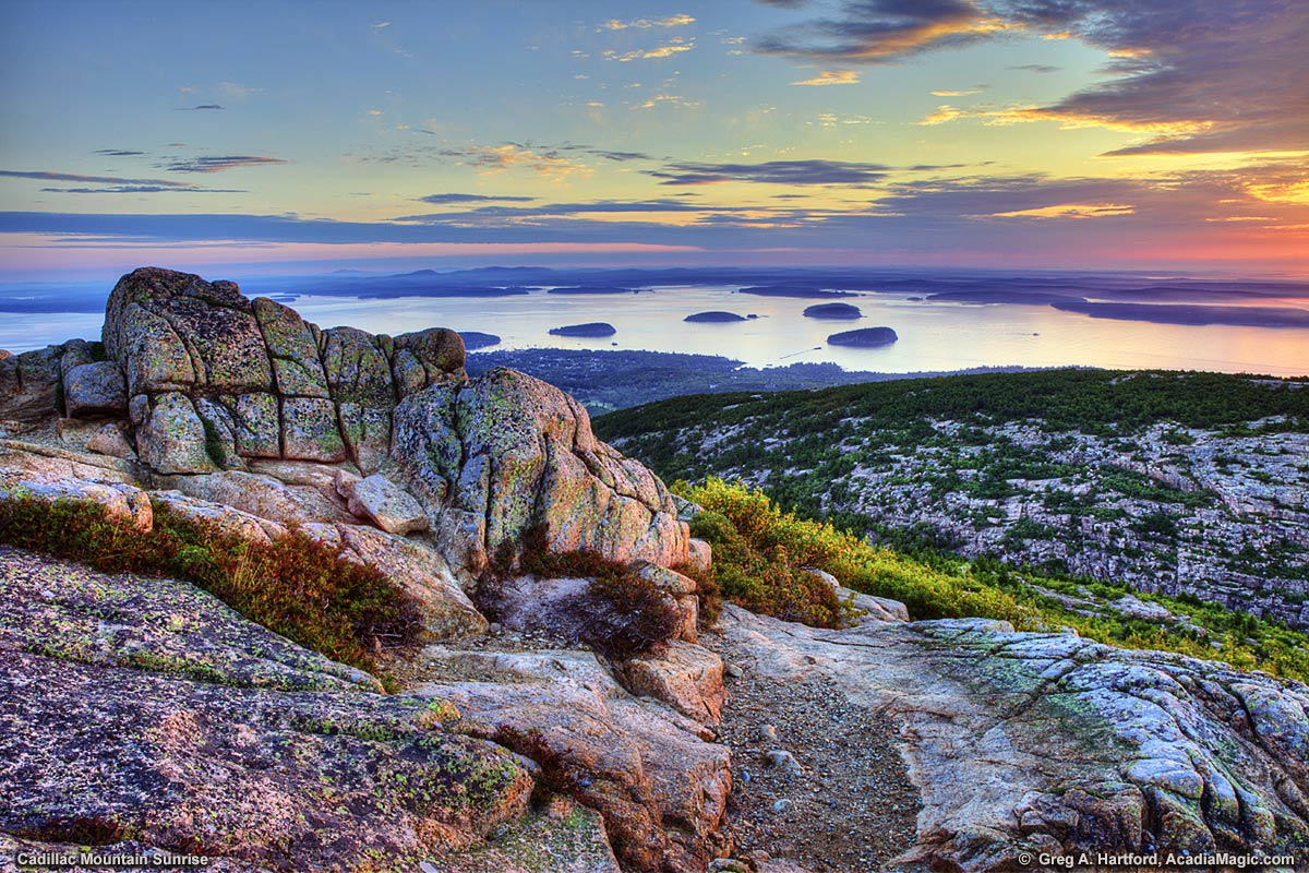 A sunrise seen from Cadillac Mountain in Acadia National Park, Maine