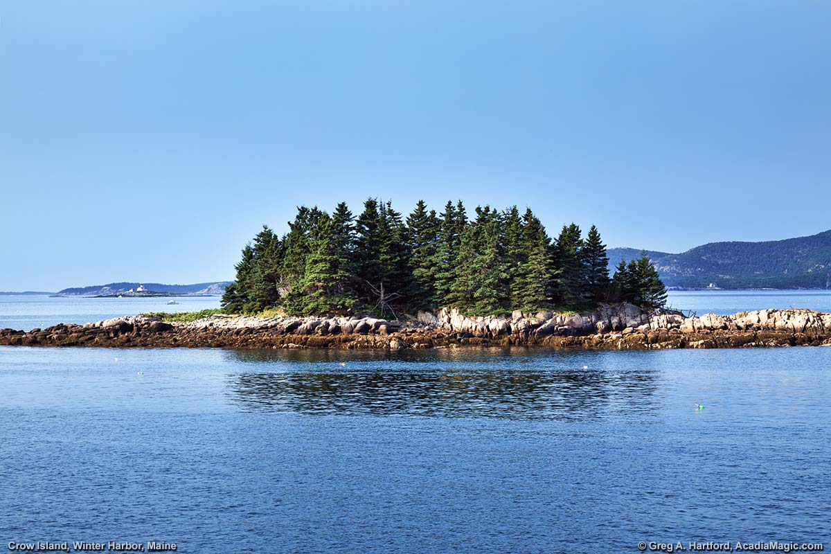 Crow Island off shore from Grindstone Neck in Winter Harbor, Maine