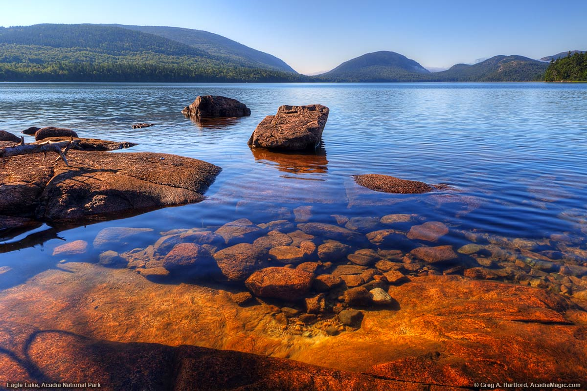 Eagle Lake in Bar Harbor, Maine in Acadia National Park