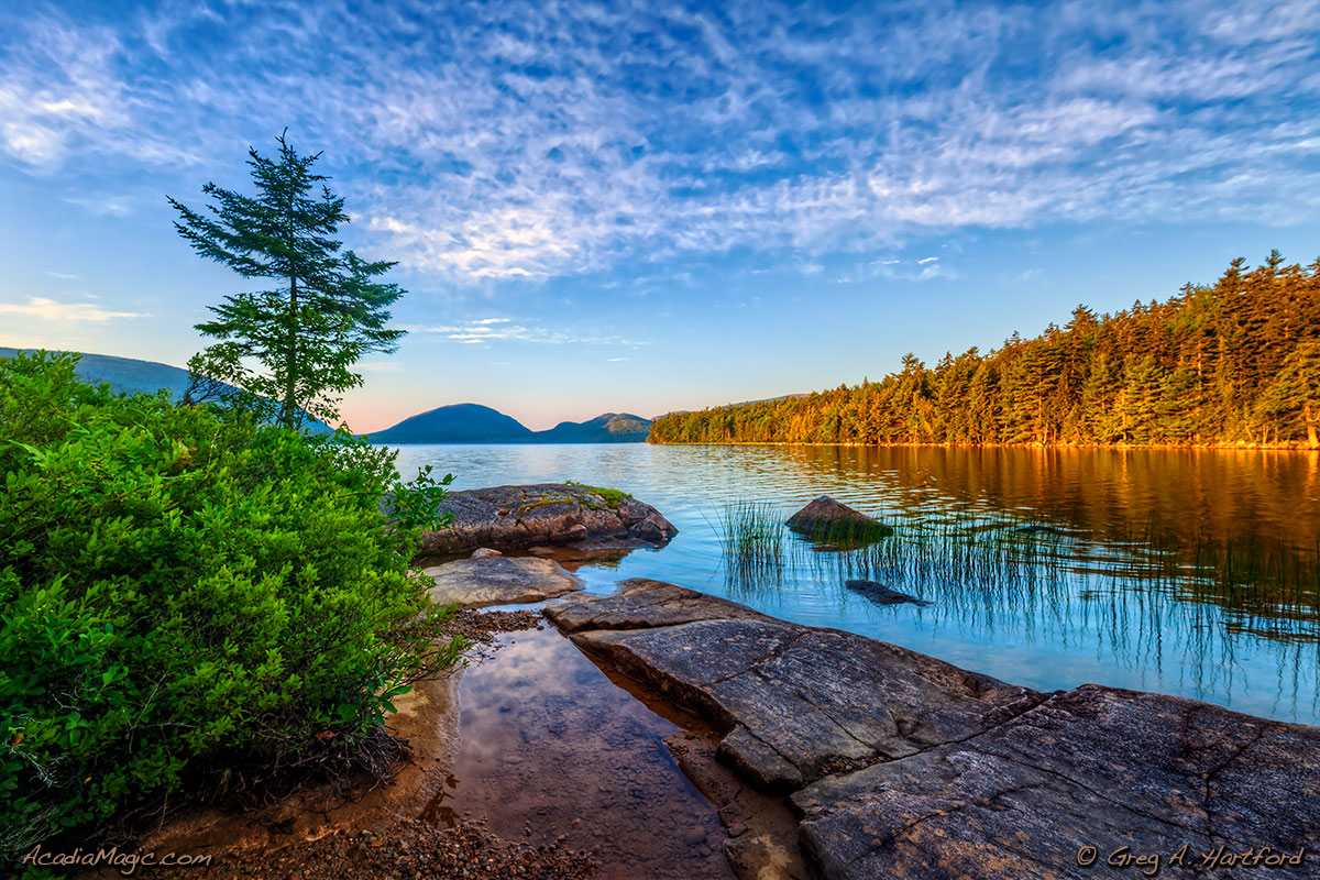 Beautiful morning at Eagle Lake in Acadia National Park